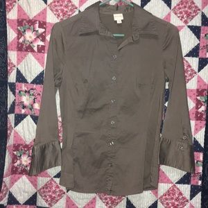 Merona Tops - Brown Button Down Dress Shirt